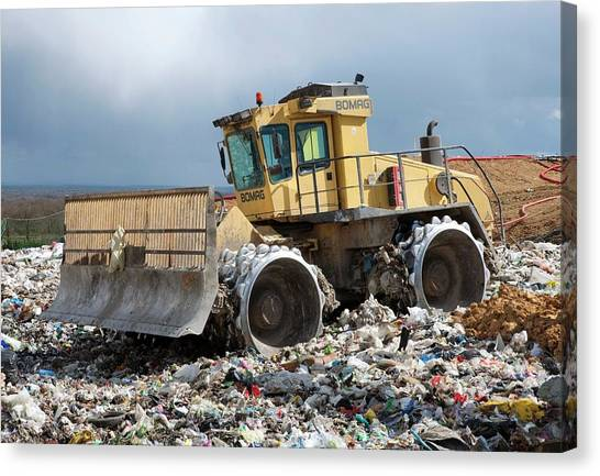 Bulldozers Canvas Print - Landfill Site by Pascal Goetgheluck/science Photo Library