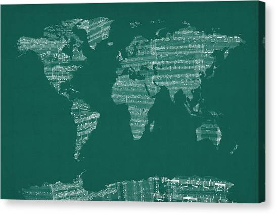 Old World Canvas Print - Map Of The World Map From Old Sheet Music by Michael Tompsett