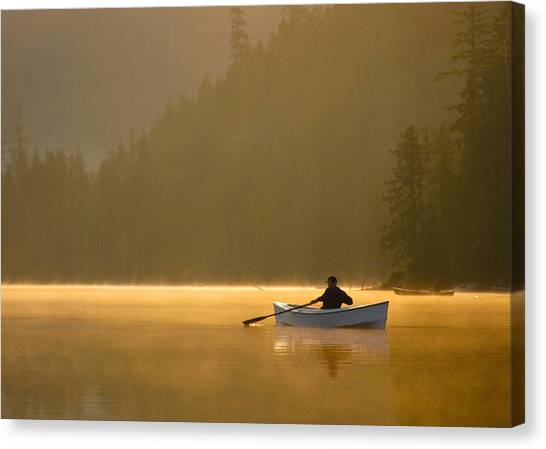 Morning Mist On The Lake Canvas Print