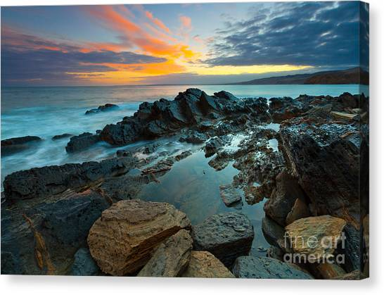 Beach Sunrises Canvas Print - Myponga Beach Sunrise by Bill  Robinson