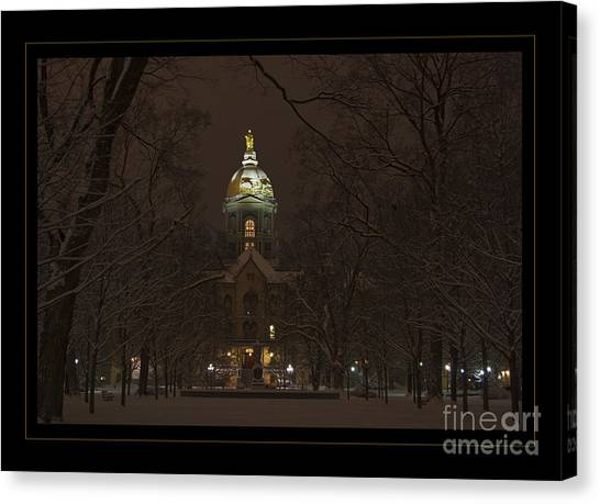 Notre Dame University Canvas Print - Notre Dame Golden Dome Snow Poster by John Stephens
