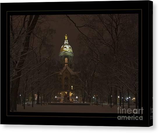 Notre Dame Golden Dome Snow Poster Canvas Print