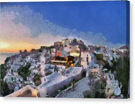 Sundown Canvas Print - Oia Town During Sunset by George Atsametakis