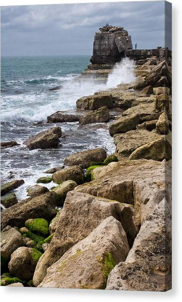 On The Rocks Canvas Print by Shirley Mitchell