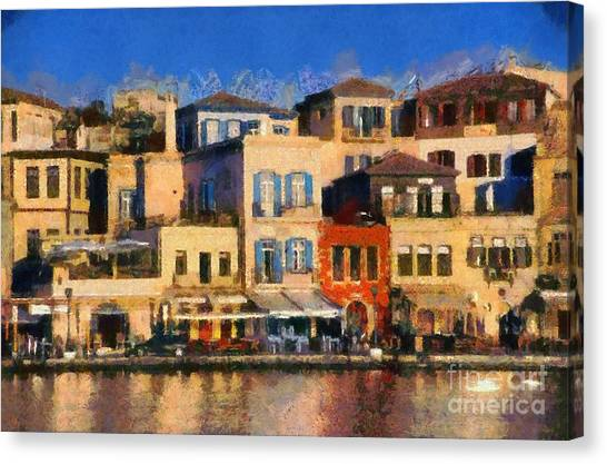Port Canvas Print - Painting Of The Old Port Of Chania by George Atsametakis