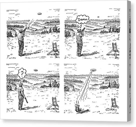 4 Panels.  Man Shoots At A Grout Which Then Turns Canvas Print