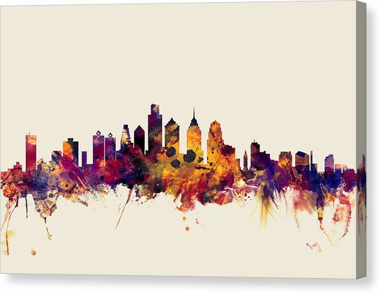 Philadelphia Canvas Print - Philadelphia Pennsylvania Skyline by Michael Tompsett