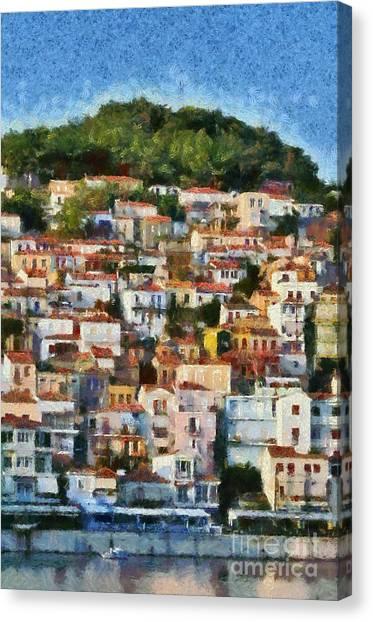 Plomari Town Canvas Print