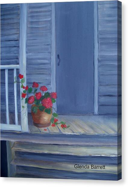 Porch Flowers Canvas Print by Glenda Barrett