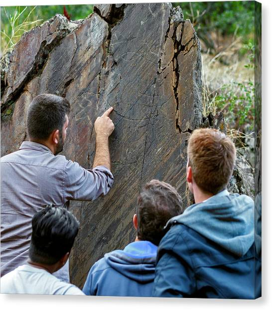 Archaeologists Canvas Print - Prehistoric Rock Art by Babak Tafreshi