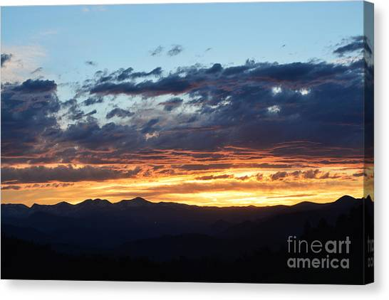 Canvas Print featuring the photograph Rocky Mountain Sunset by Kate Avery