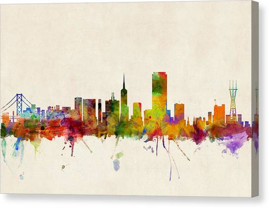 Tower Bridge Canvas Print - San Francisco City Skyline by Michael Tompsett