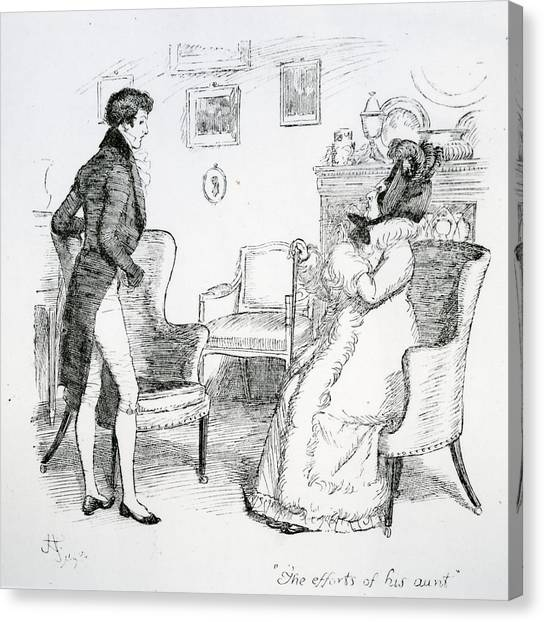 English And Literature Canvas Print - Scene From Pride And Prejudice By Jane Austen by Hugh Thomson