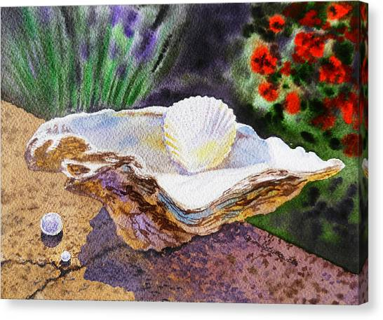 Sea Shell And Pearls Morning Light Canvas Print