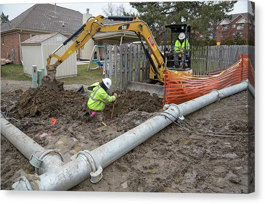 Excavators Canvas Print - Sewer Collapse And Repair Works by Jim West/science Photo Library