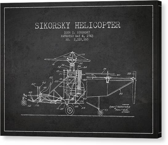 Helicopters Canvas Print - Sikorsky Helicopter Patent Drawing From 1943 by Aged Pixel