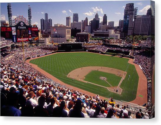 Detroit Tigers Canvas Print - Spectators Watching A Baseball Match by Panoramic Images