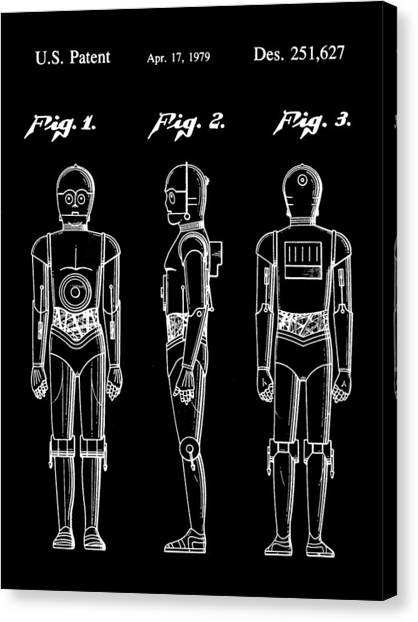 R2-d2 Canvas Print - Star Wars C-3po Patent 1979 - Black by Stephen Younts