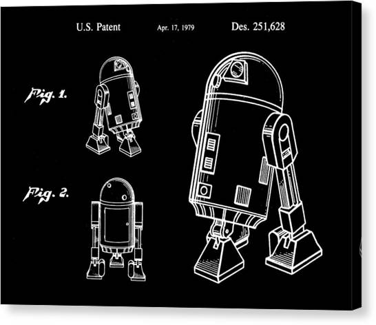R2-d2 Canvas Print - Star Wars R2-d2 Patent 1979 - Black by Stephen Younts