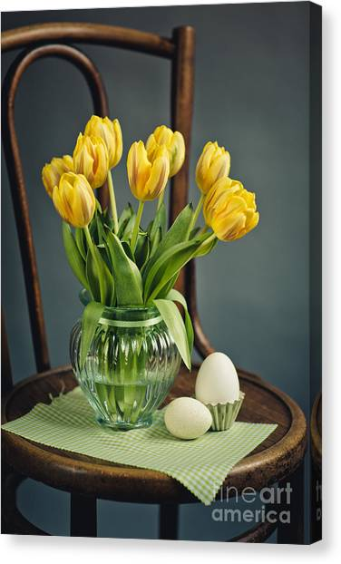Easter Eggs Canvas Print - Still Life With Yellow Tulips by Nailia Schwarz