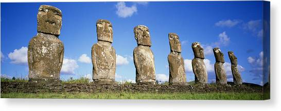 Easter Island Canvas Print - Stone Heads, Easter Islands, Chile by Panoramic Images