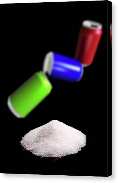 Sugar In Fizzy Drinks Canvas Print by Victor Habbick Visions/science Photo Library