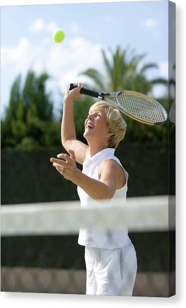 Tennis Racquet Canvas Print - Tennis Player by Ian Hooton/science Photo Library