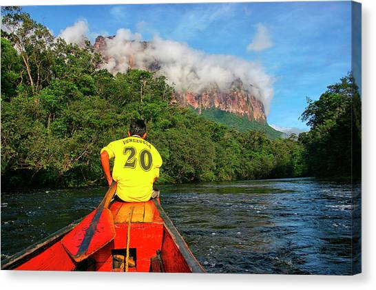 Angel Falls Canvas Print - The Carrao River Is Located In Bolivar by David Santiago Garcia
