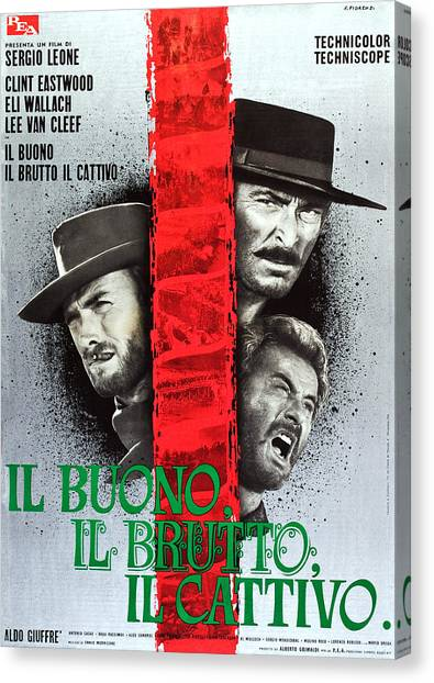 Foreign Ad Art Canvas Print - The Good, The Bad And The Ugly, Aka Il by Everett