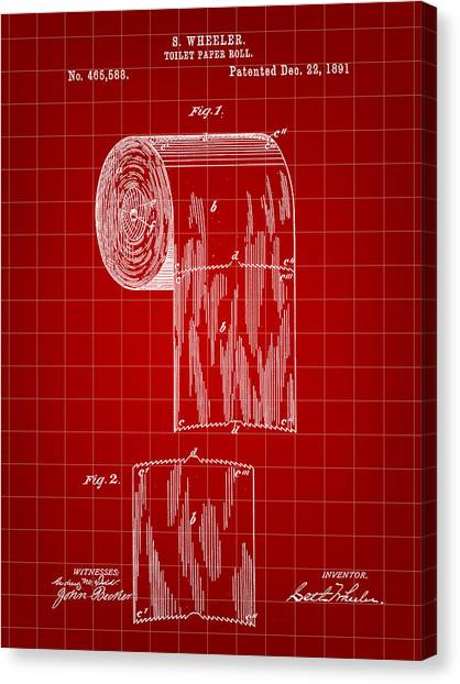 Ply Canvas Print - Toilet Paper Roll Patent 1891 - Red by Stephen Younts