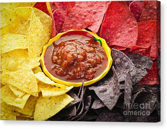 Salsa Canvas Print - Tortilla Chips And Salsa by Elena Elisseeva