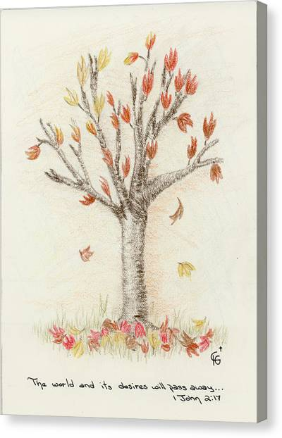 4 Trees-1st Tree Fall Canvas Print