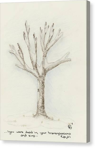 4 Trees-2nd Tree Winter Canvas Print