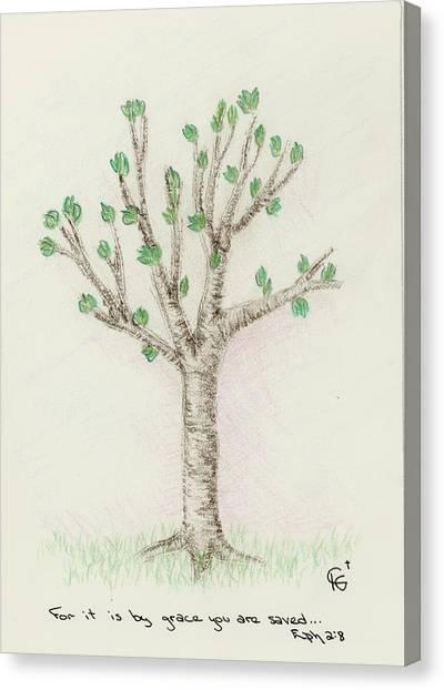 4 Trees-3rd Tree Spring Canvas Print