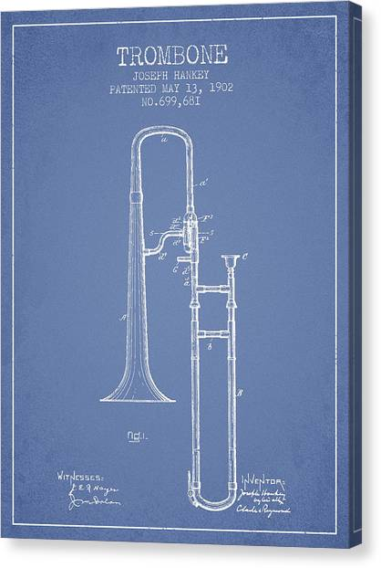 Trombones Canvas Print - Trombone Patent From 1902 - Light Blue by Aged Pixel