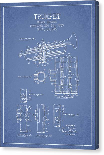 Brass Instruments Canvas Print - Trumpet Patent From 1939 - Light Blue by Aged Pixel