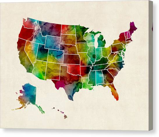 Map Canvas Print - United States Watercolor Map by Michael Tompsett