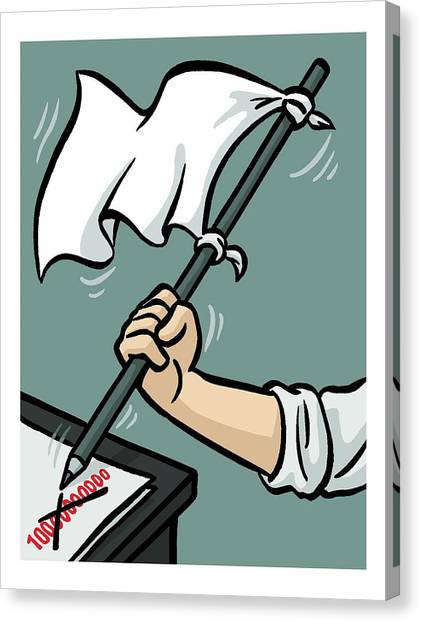 Taxes Canvas Print - Waving The White Flag by Christoph Niemann