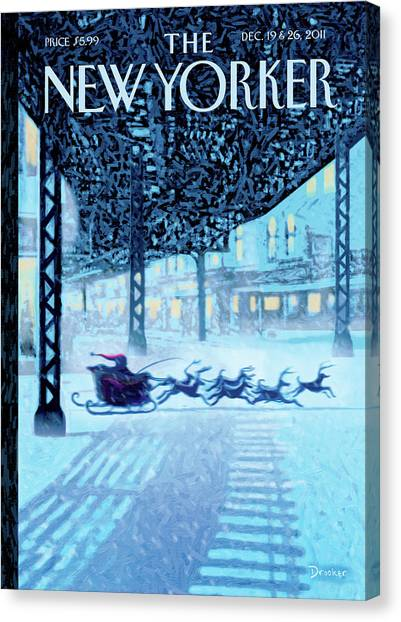 Reindeer Canvas Print - New Yorker December 19th, 2011 by Eric Drooker