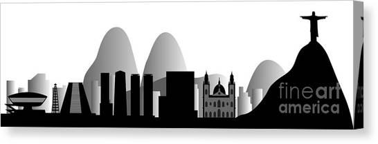 Rio De Janeiro Skyline Canvas Print - vector Rio de Janeiro skyline by Michal Boubin