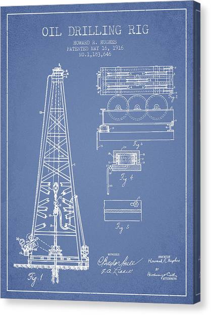 Oil Rigs Canvas Print - Vintage Oil Drilling Rig Patent From 1916 by Aged Pixel
