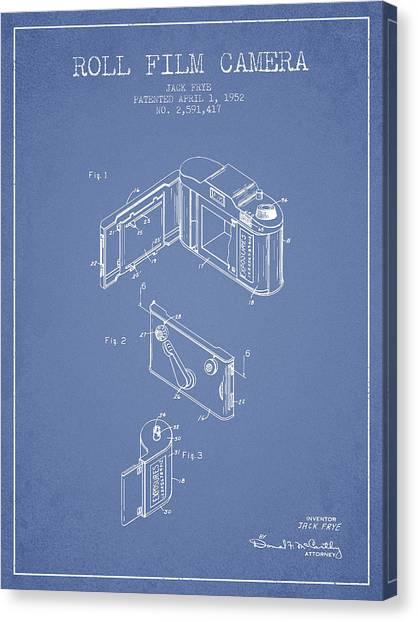 Vintage Camera Canvas Print - Vintage Roll Film Camera Patent From 1952 by Aged Pixel