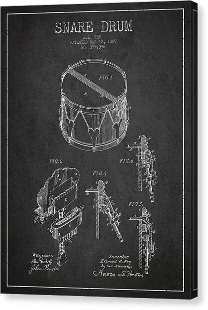 Drums Canvas Print - Vintage Snare Drum Patent Drawing From 1889 - Dark by Aged Pixel