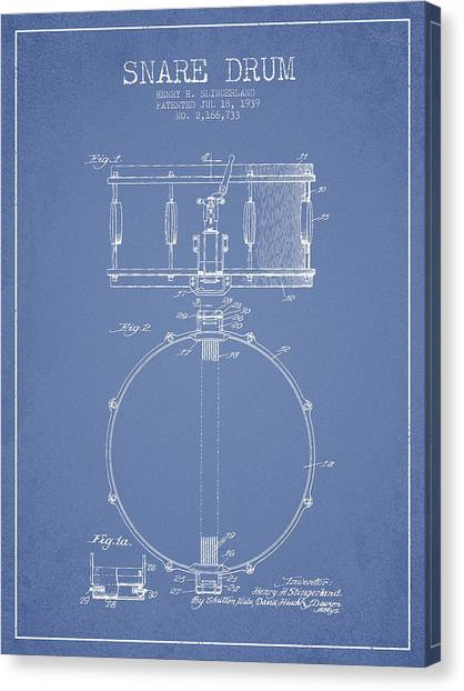 Snares Canvas Print - Snare Drum Patent Drawing From 1939 - Light Blue by Aged Pixel