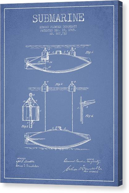 Submarine Canvas Print - Vintage Submarine Patent From 1905 by Aged Pixel
