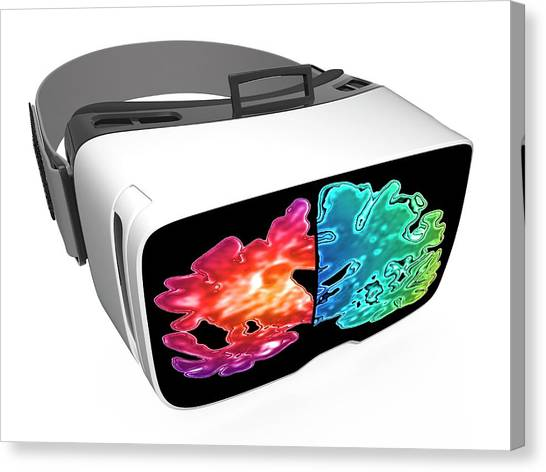Virtual Reality Headset In Science Canvas Print by Alfred Pasieka/science Photo Library