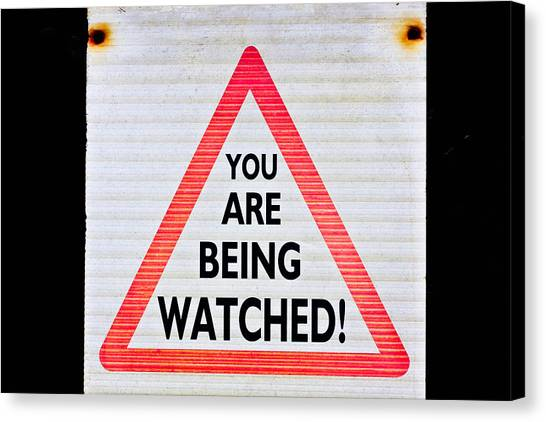 Big Brother Canvas Print - Warning Sign by Tom Gowanlock