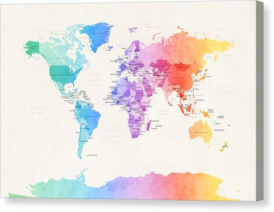 World Map Canvas Print - Watercolour Political Map Of The World by Michael Tompsett