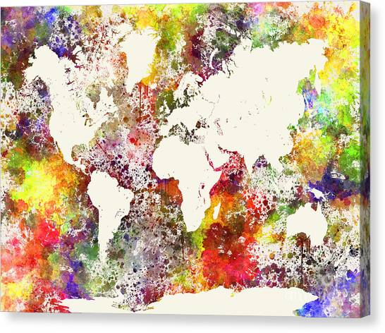 World map paint splashes canvas prints fine art america world map paint splashes canvas print world map in watercolor by pablo romero gumiabroncs Choice Image