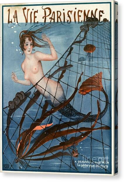 Mermaids Canvas Print - 1920s France La Vie Parisienne Magazine by The Advertising Archives